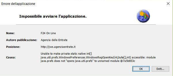 Errori F24 Online